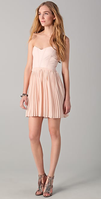 Parker Strapless Pleated Dress