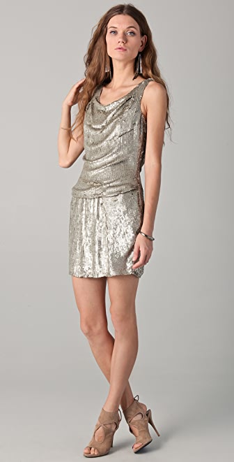 Parker Sequin Drape Front Dress