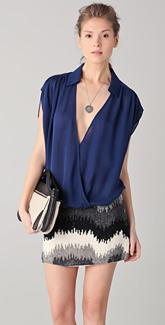 Parker Collared Wrap Top