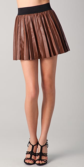 Parker Pleated Leather Miniskirt