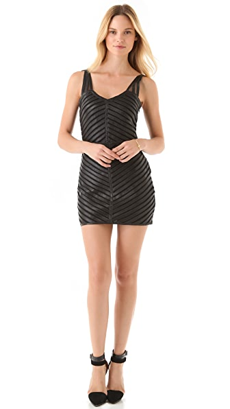 Parker Strappy Leather & Mesh Dress