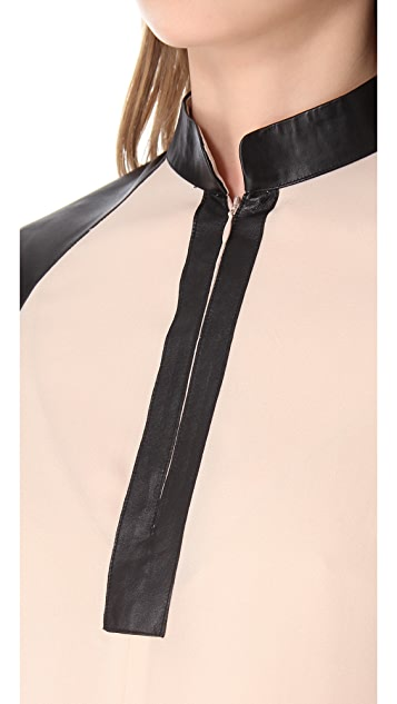 Parker Leather Yoke Henley Top