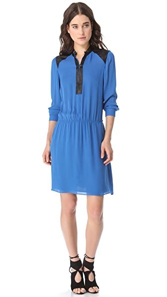 Parker Leather Trim Dress