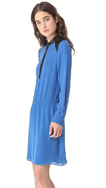 Parker Leather Trim Dress