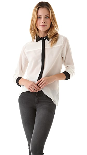 PJK Patterson J. Kincaid Farrow Button Blouse