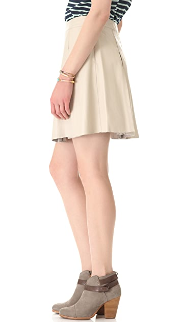 PJK Patterson J. Kincaid Pleated Leather Miniskirt
