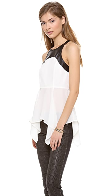 PJK Patterson J. Kincaid Hazelnut Peplum Top
