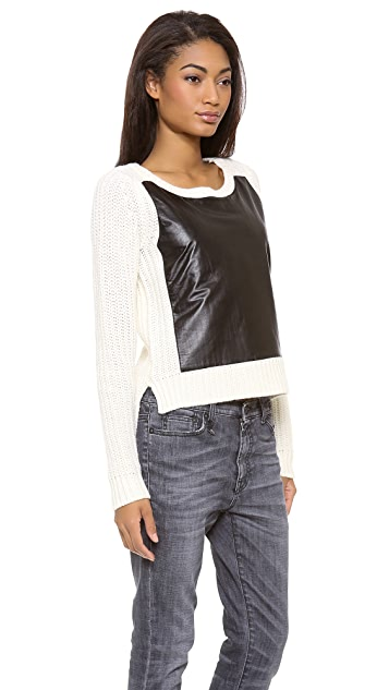 PJK Patterson J. Kincaid Leather Patch Pullover
