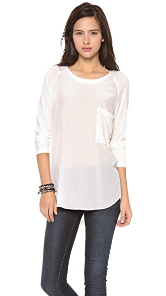 PJK Patterson J. Kincaid Maryann Pocket Crew Neck Top