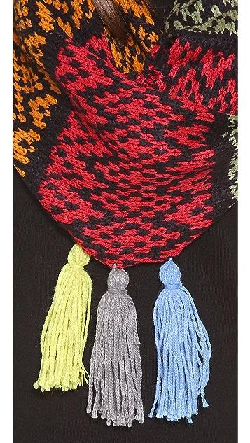 Paula Bianco Multicolor Tassel Scarf