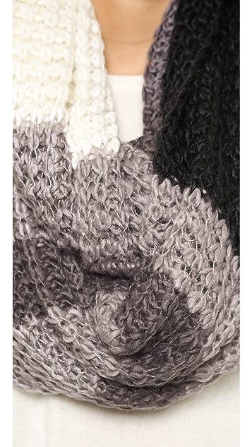 Paula Bianco Chunky Knit Color Block Wrap Scarf