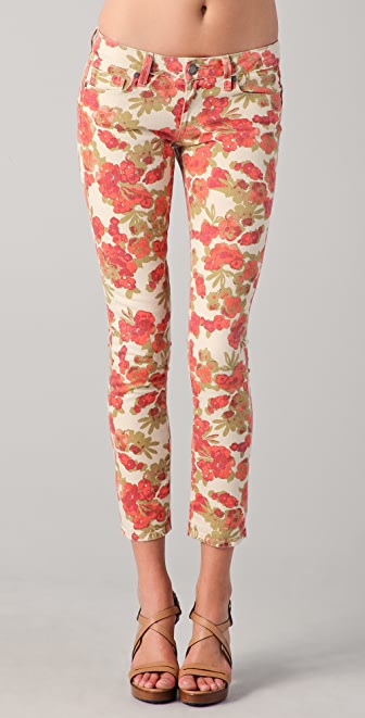 PAIGE Floral Ankle Peg Skinny Jeans