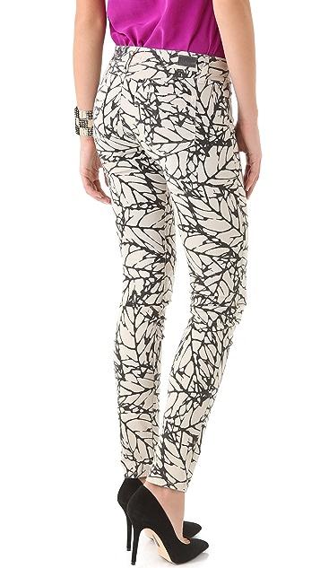 PAIGE Leaf Print Skyline Skinny Jeans