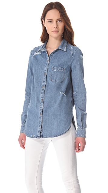 PAIGE Eden Deconstructed Denim Shirt