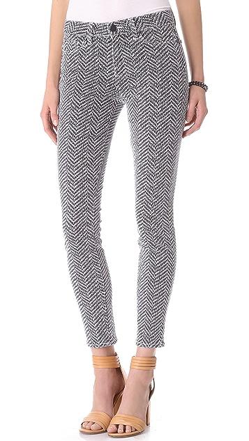 PAIGE Hoxton Herringbone Skinny Jeans