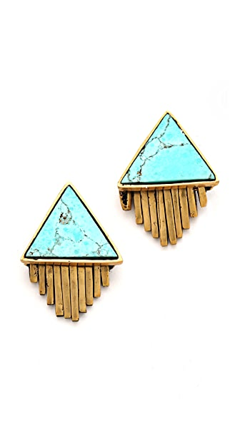 A Peace Treaty Iina Triangle Stone and Fringe Earrings