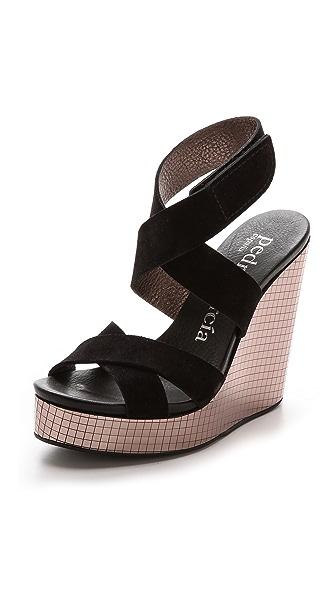 Pedro Garcia Theresa Mirror Wedge Platform Sandals