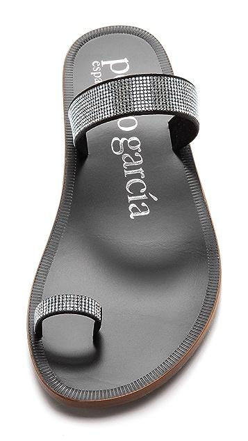 Pedro Garcia Zarina Embellished Toe Ring Sandals