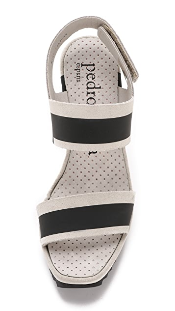 Pedro Garcia Vicenta Stripe Wedge Sandals