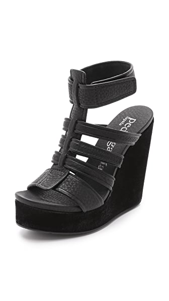 Pedro Garcia Taylin Wedge Sandals - Black