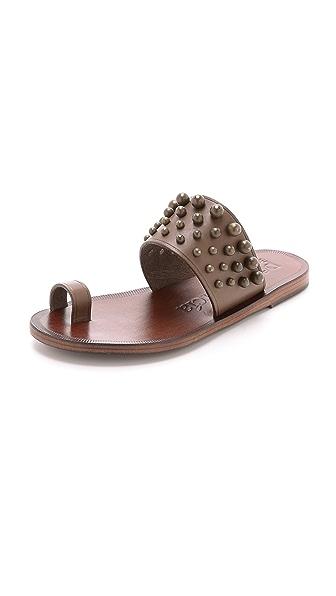 Pedro Garcia Zeta Studded Toe Ring Sandals - Piombo