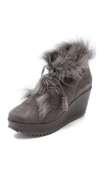 Pedro Garcia Fidela Fur Wedge Booties - Fox