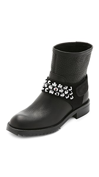 Pedro Garcia Kian Crystal Moto Boots - Black