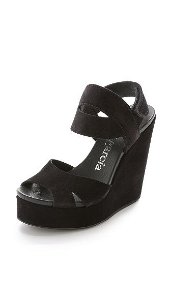 Pedro Garcia Teilor Platform Wedge Sandals - Black