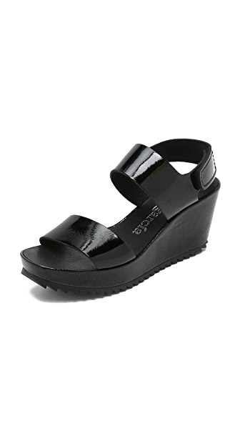 Pedro Garcia Fiona Platform Wedge Sandals - Black