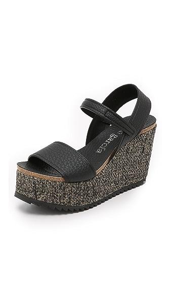 Pedro Garcia Dorothy Platform Wedge Sandals - Black