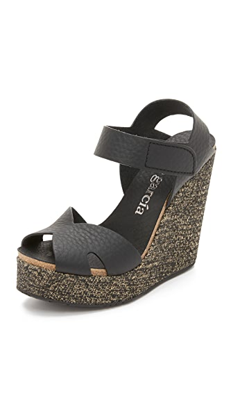 Pedro Garcia Tandy Wedge Sandals - Black