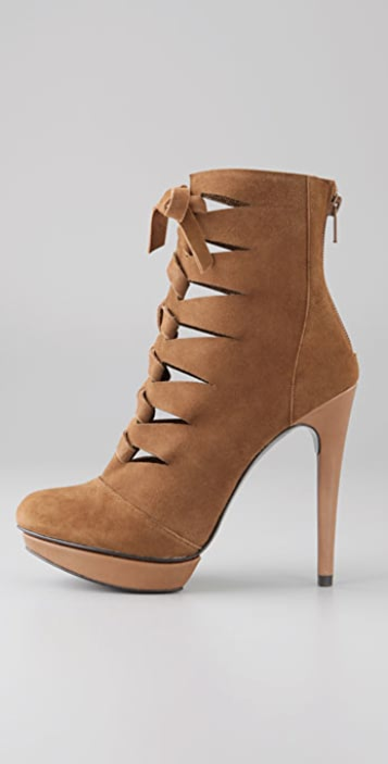Pelle Moda Tammie Lace Up Suede Booties with Cutouts
