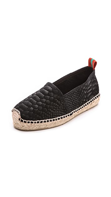Penelope Chilvers Sueded Snake Espadrille Flats