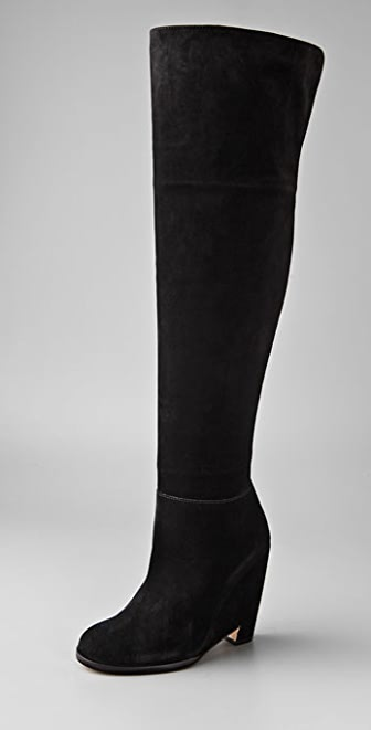 Philosophy di Lorenzo Serafini Over the Knee Suede Boots on Cutout ...