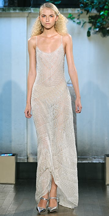 Philosophy di Lorenzo Serafini Long Dress with All Over Glass Beading