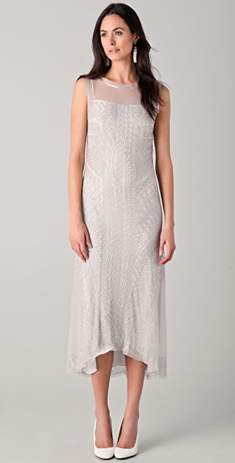 Philosophy di Lorenzo Serafini Tea Length Dress with All Over Glass Beading