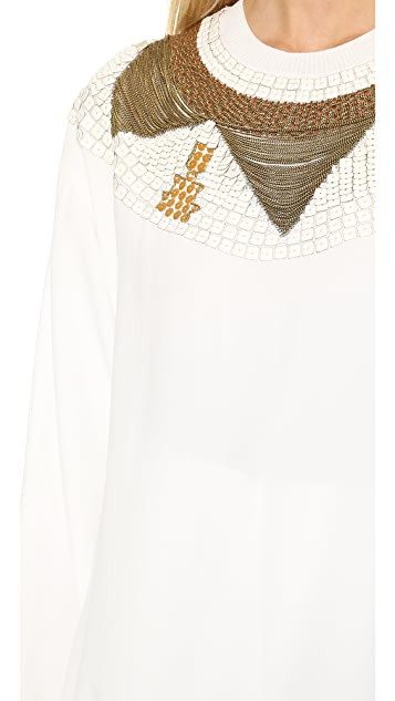 Philosophy di Lorenzo Serafini Satin Embroidered Top
