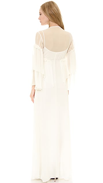 Philosophy di Lorenzo Serafini Long Sleeve Chiffon Gown