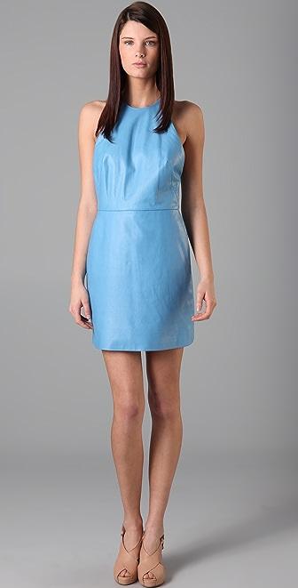 3.1 Phillip Lim Leather Halter Dress with Chiffon Back