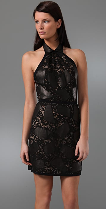 3.1 Phillip Lim Halter Lace Dress with Leather Collar