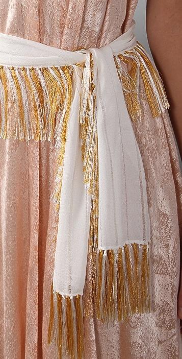 3.1 Phillip Lim Sleeveless Keyhole Maxi Dress with Fringe Belt