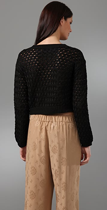 3.1 Phillip Lim Basket Weave Cropped Sweater