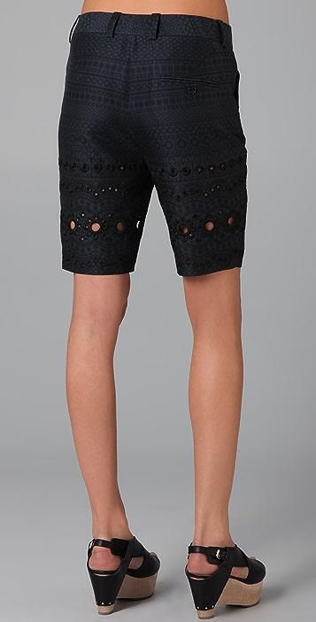 3.1 Phillip Lim Flat Front Eyelet Bermuda Shorts