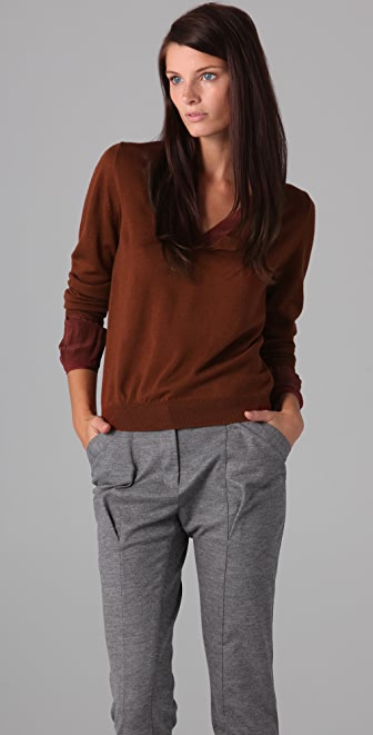 3.1 Phillip Lim V Neck Sweater with Twist Trim