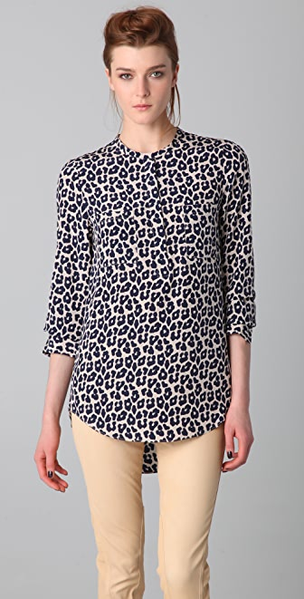 3.1 Phillip Lim Leopard Print Hidden Zipper Shirt