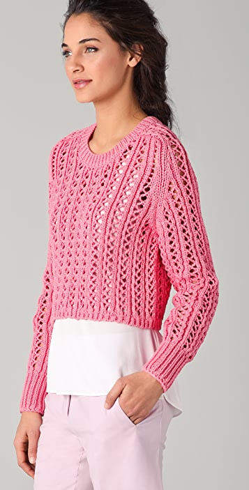 3.1 Phillip Lim Open Weave Cropped Sweater
