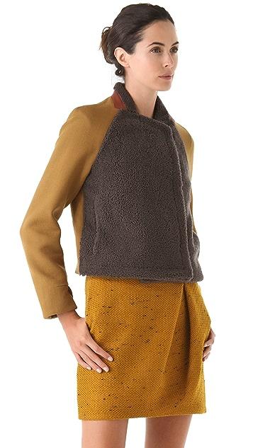 3.1 Phillip Lim Shearling Letterman Jacket