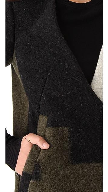 3.1 Phillip Lim Curved Neckline Crombie Coat