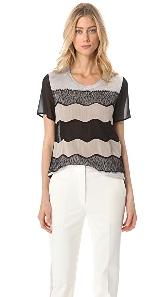 3.1 Phillip Lim Lace Applique T-Shirt