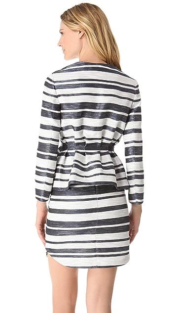 3.1 Phillip Lim Zip Stripe Peplum Jacket